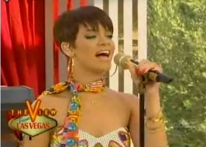 """June 2008- Rihanna performed at The View and when asked abut her bdding romnce with Chris Brown the star claimed: """"He's an amazing person, but we are not dating. We're very close friends though. Very, very close."""""""